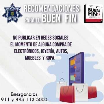 Aplica Policía Morelia operativo especial por el Buen Fin 2019