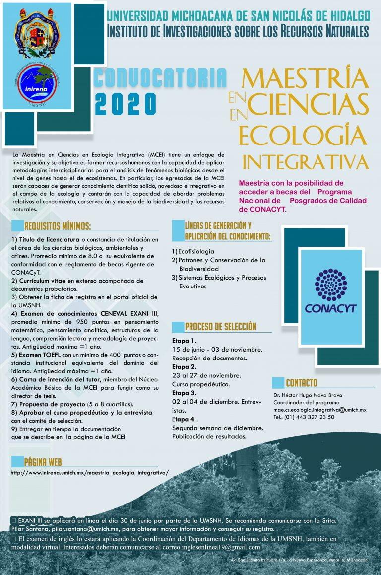 Inirena convoca a la Maestría en  Ciencias en Ecología Integrativa