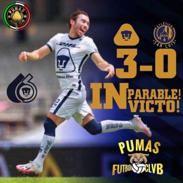 Con tres rugidos vence PUMAS  al Atlético San Luis